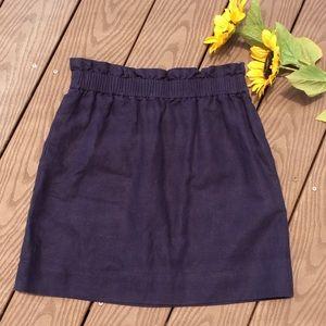 J Crew Navy $79 Linen Blend Paper Bag Mini Skirt